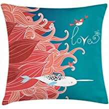 Ambesonne Narwhal Throw Pillow Cushion Cover, Love Themed Sketch Illustration with Arctic Whale Valentine's Arrangement, Decorative Square Accent Pillow Case, 20 X 20 Inches, Teal Coral White