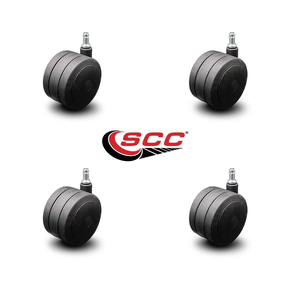 Heavy Duty Office Chair Casters - Extra Large 4'' Black Twin Wheels - Hardwood Safe Non Marking - Set of 4 - Service Caster by Service Caster