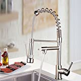 copper kitchen faucets pull out Ollypulse Solid Brass Brushed Nickel Kitchen Faucet Single Hole Deck Mount Stainless Steel Kitchen Sink Faucet with Swivel Pull Out Sprayer and High Pressure Spout