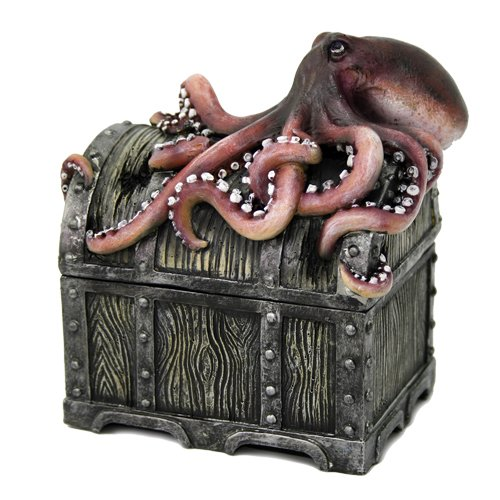 Decorative Davy Jones Locker Treasure Chest with Octopus Collectible Trinket Box 5 Inches W