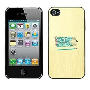 TECHCASE**Cubierta de la caja de protección la piel dura para el ** Apple iPhone 4 / 4S ** Design Believe God Good Happy Quote
