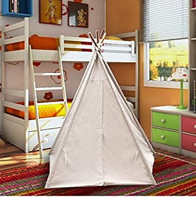 EasyGo Products Indoor Tee Pee Tent – 6 Foot Tall Classic Indian Play Tent for Kids with Five Wood Poles and Carry Bag – Five-Sided Walls with Door, Window and Floor by EasyGoProducts