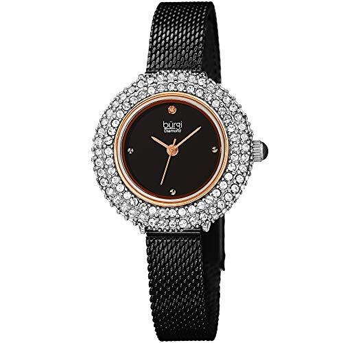 Burgi Swarovski Crystal Diamond Accented Watch - Sparkling Swarovski Crystals on Stainless Steel Slim Mesh Bracelet - Mothers Day Gift - BUR236BKR (Black/Rose Gold)