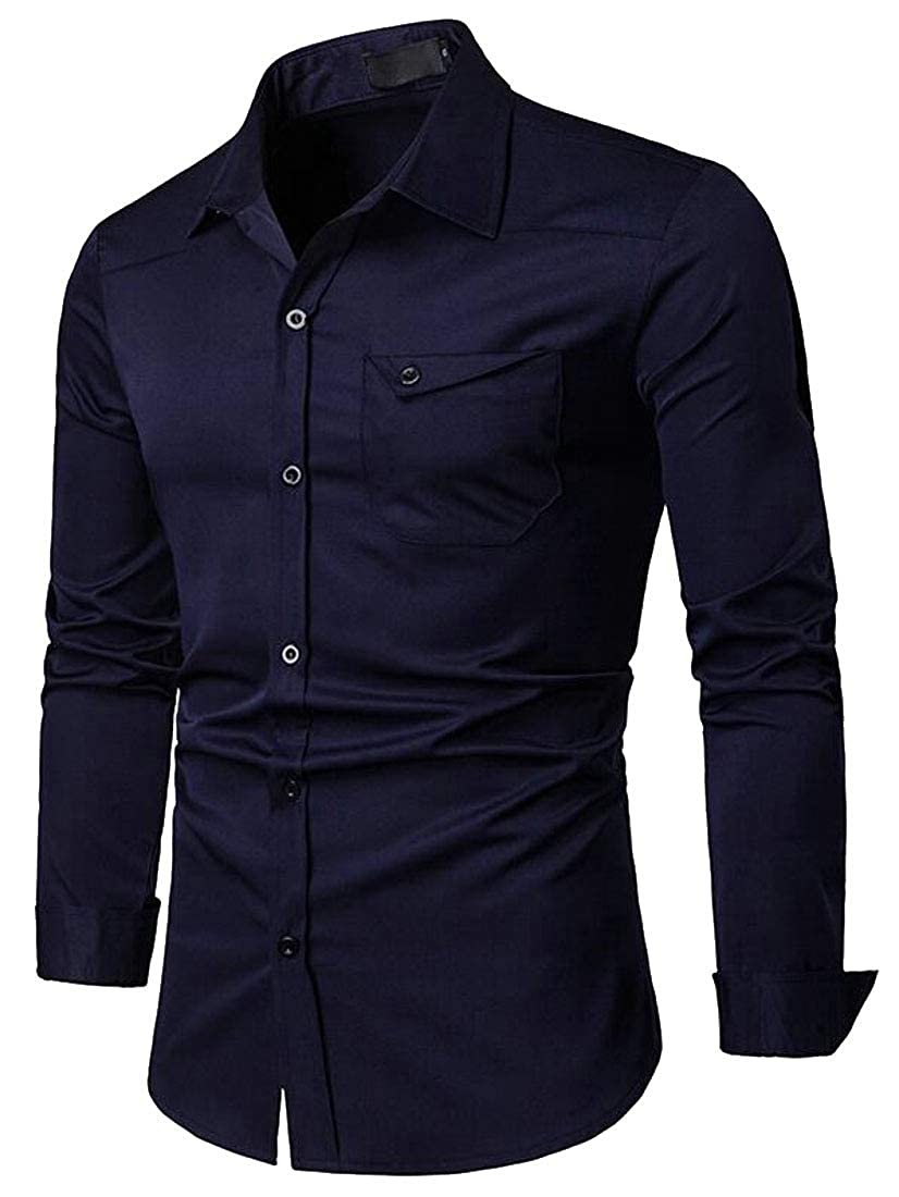 Fubotevic Mens Long Sleeve Solid Color Regular Fit Casual Business Button Down Dress Shirts