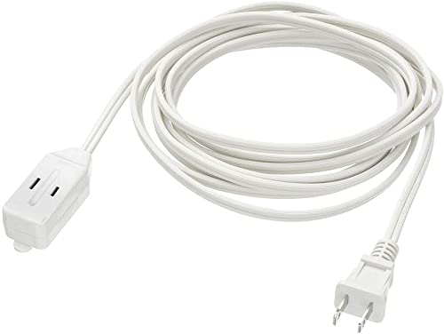 CMPLE – 3-Outlet Household Indoor Extension Power Cord – 2 Prong with Protection Outlet Cover – 6 Feet, White