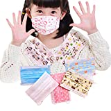 Pack of 40 Children's Cute Print Disposable Anti Dust Anti-Fog Non-Woven Fabric Breathable Earloop Face Mask Dust Filter Mouth Cover with Independent Packing for Kid (Random Color)