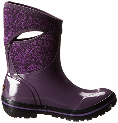 Winter Plimsoll Boot Plum Snow Bogs Floral Mid Quilted Women's 05a0vqnX