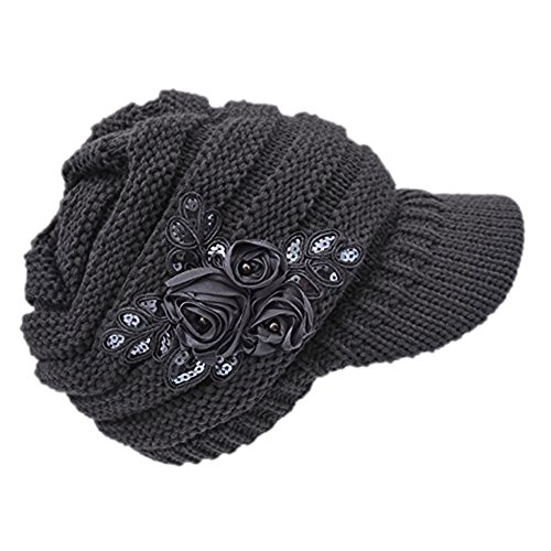 - C-US Women Winter Warm Knit Hat Crochet Visor Brim Cap With Flower Accent
