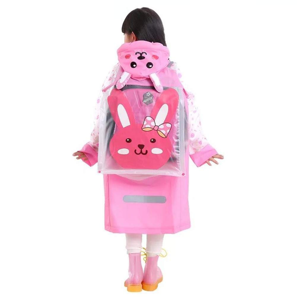 Sywwlov Kids Toddler Raincoat Hooded School Backpack Reusable Rain Ponchos Cape Jacket Rainwear (Pink, L(Fit 46.8''-50.7'' Height))