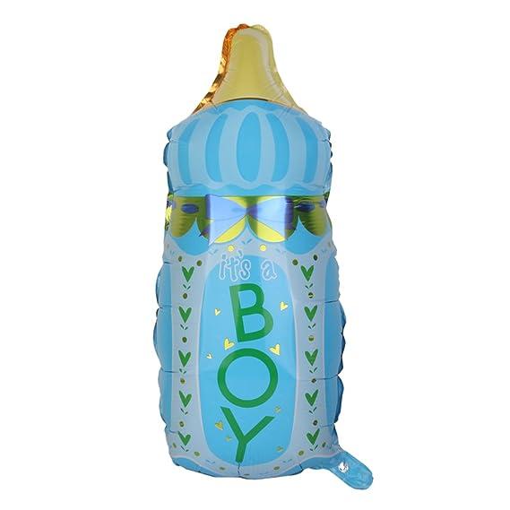Globo Película De Aluminio Forma Botella Para Bebé Fiesta Cumpleaños Bautizo (Azul)