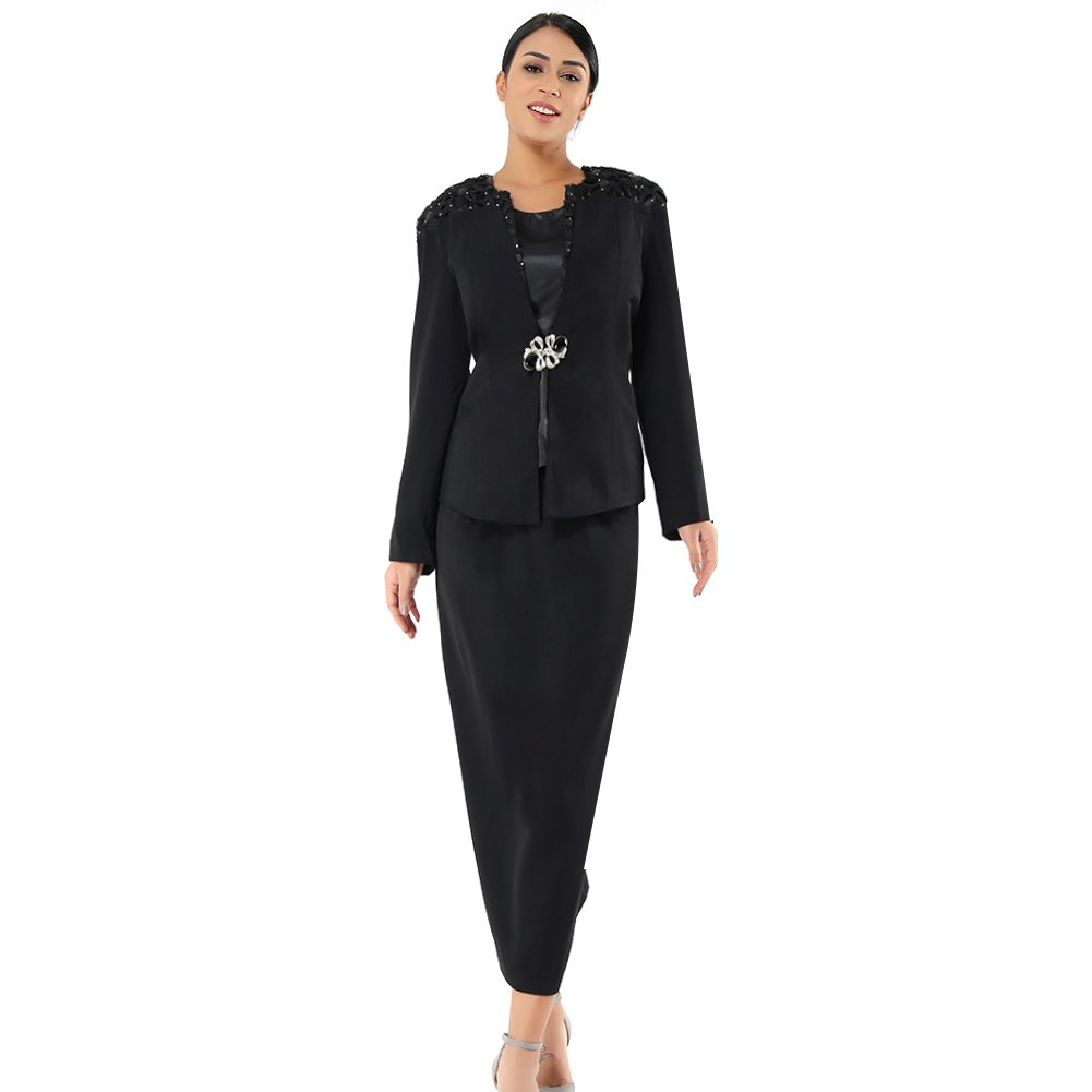 Suits Only Kueeni Women Church Suits with Hats Special Occasion Wedding Party Clothes Black