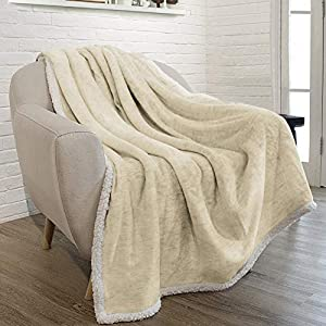 PAVILIA Premium Melange Sherpa Throw Blanket Super Soft, Cozy, Lightweight Microfiber, Modern, Reversible by PAVILIA