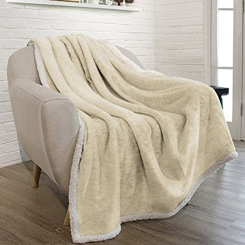 PAVILIA Premium Beige Sherpa Melange Throw Blanket for Couch, Sofa by Soft, Fluffy, Plush, Warm, Cozy, Fuzzy Lightweight Microfiber, Luxury Modern Reversible TV Blanket (50 x 60 Inches, Latte) (Luxury Tv)
