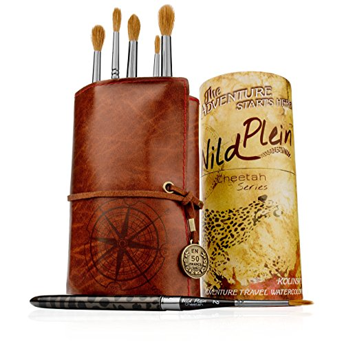 Wild Plein Kolinsky Sable Watercolor Travel Brush Set - 6 Pointed Rounds (Markers Sable)