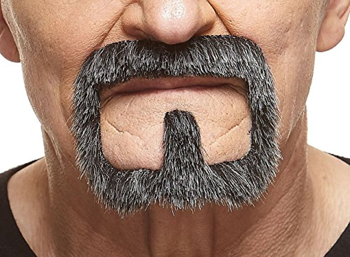 Mustaches Self Adhesive, Novelty, Van Dyke Fake Beard, False Facial Hair, Costume Accessory for Adults, Salt and Pepper -