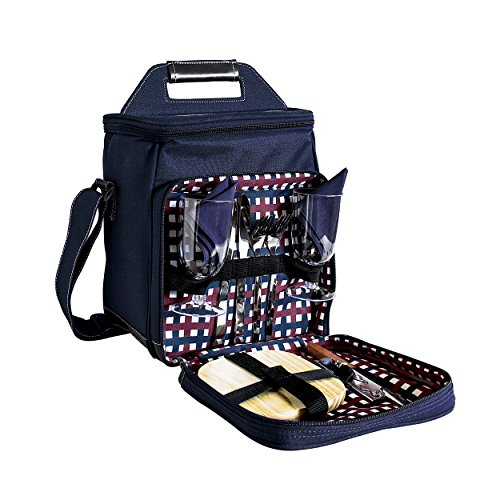 11 Pc Two Person Wine and Cheese Insulated Picnic Cooler Bag Set, Navy