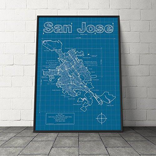 San Jose, California Map - Blueprint Style
