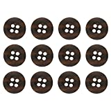 ButtonMode Khakis, Chinos and Cotton Pants Buttons Set Includes 1-Dozen Buttons Measuring 15mm (5/8 inch), Mottled Dark Brown, 12-Buttons