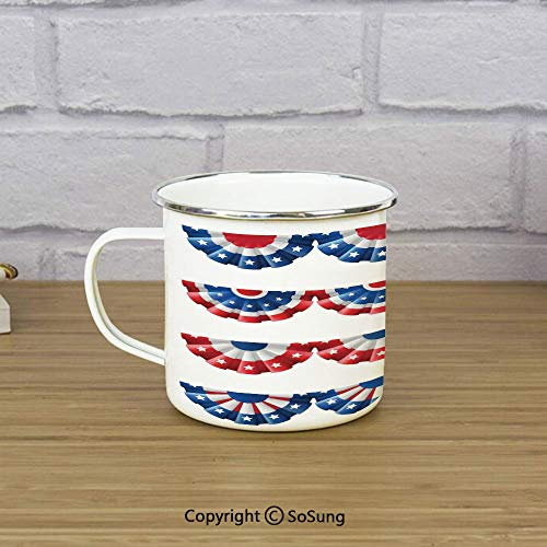 American Flag Decor Travel Enamel Mug,Flag Round Bunting Election Ornament Politic Union Ribbon Event Pattern,11 oz Practical Cup for Kitchen, Campfire, Home, TravelBlue Red (Poisoned Politics)