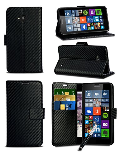 MobiBax For Motorola Moto C / Xt1758 / Xt1754 (2017) - Black Textured Effect Wallet Flip Skin Case Cover With Card Pockets & Retractable Capacitive Stylus Touch Screen - The Card Limited Credit Closing