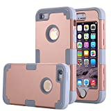 Asstar 3 in 1 Hard PC+ Soft TPU Impact Protection Heavy Duty Shockproof Full-Body Protective Case for Apple iPhone SE / iPhone 5 5S - Gold grey