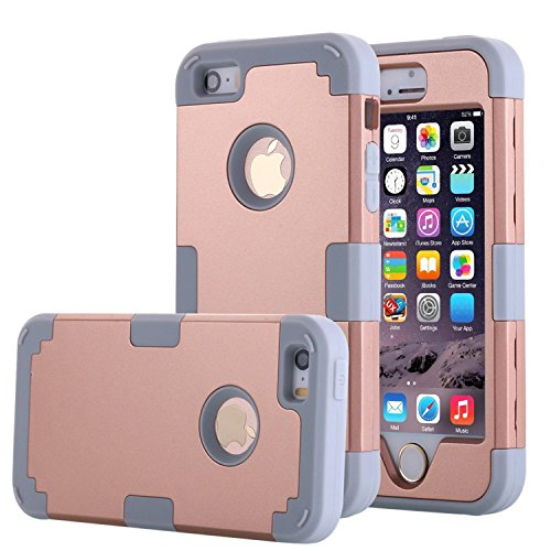 iPhone 5S Case, Phone SE Case, Asstar 3 in 1 Hard PC+ Soft TPU Impact Protection Heavy Duty Shockproof Full-Body Protective Case for Apple iPhone SE / iPhone 5 5S (Glod grey)