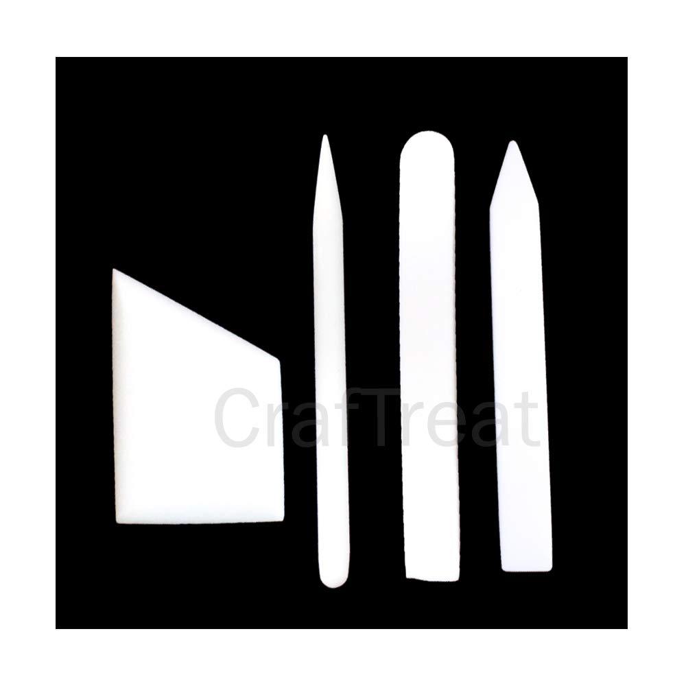 Lifting Origami and Paper Crafting Burnishing Folding CrafTreat Teflon Bone Folder Set/-Large Bookbinding Ergo Square Creasing Lifter and Burnisher Handmade Tool for Scoring
