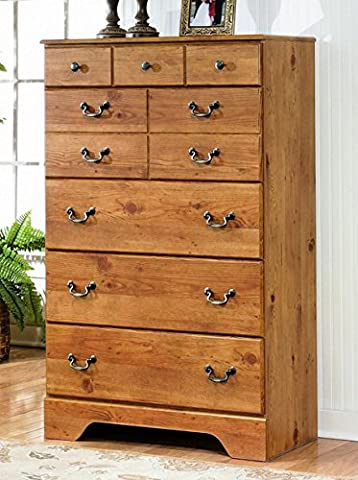 Ashley Furniture Signature Design - Bittersweet Chest of Drawers - 5 Drawers - Vintage Casual Replicated Pine Grain - Light - Pine 5 Drawer Dresser