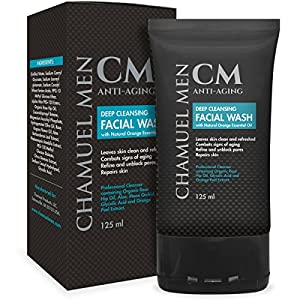 Chamuel Men Skincare Facial Cleanser – Anti-Aging, Firming, Exfoliating, Deep Cleaning, Organic, All Natural Glycolic Acid Acne & Wrinkle Eraser Face Wash for Oily, Dry, Combo or Sensitive Skin
