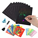 LZHZH Rainbow Scratch Paper Art Kit,50 Piece Rainbow Scratch Paper ,5 Wooden Stylus,10 Pieces Drawing Stencils