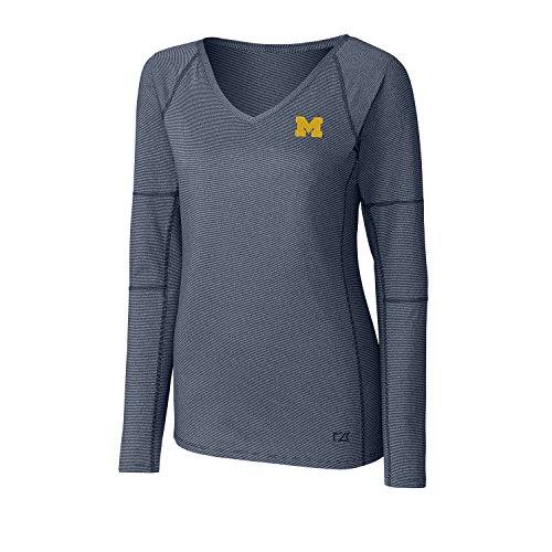 (Cutter & Buck NCAA Michigan Wolverines Adult Women Long Sleeve Victory V-Neck, 3X-Large, Liberty)