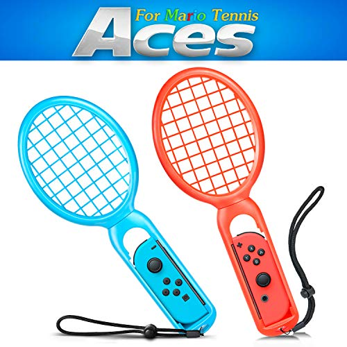 Tennis Racket for Mario Tennis Aces - Nintendo Switch Joy-Con Controllers - Game Accessories (Blue and Red 2Pack) (red)
