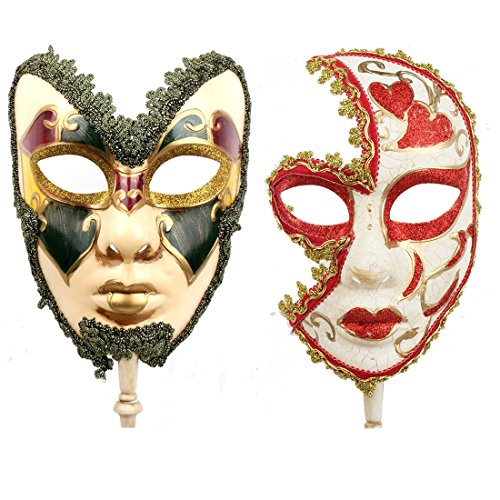 YUFENG One Pair Couple's Gorgeous Venetian Masquerade Masks Party Costumes Accessory (Masquerade Mens Masks Jester)