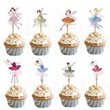 M2cbridge 48 Pack Ballerina Fairy Cupcake Toppers Cupcake Sticks Food Flags for Weddings or Parties (24 Ballerina + 24 Fairy)