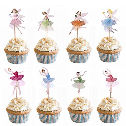 M2cbridge 48 Pack Ballerina Fairy Cupcake Toppers Cupcake Sticks Food Flags for Weddings or Parties (24 Ballerina + 24 Fairy) by M2cbridge