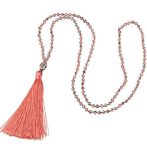 Strand Tassel Necklace (KELITCH Fashion Crystal Strand Necklace Long Chain with Buddha Head Tassel Pendant - Light Orange)