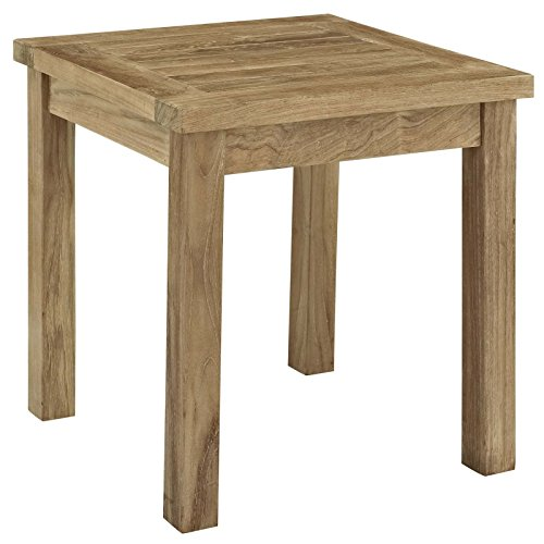 Cheap  Modway Marina Teak Wood Outdoor Patio Side Table in Natural