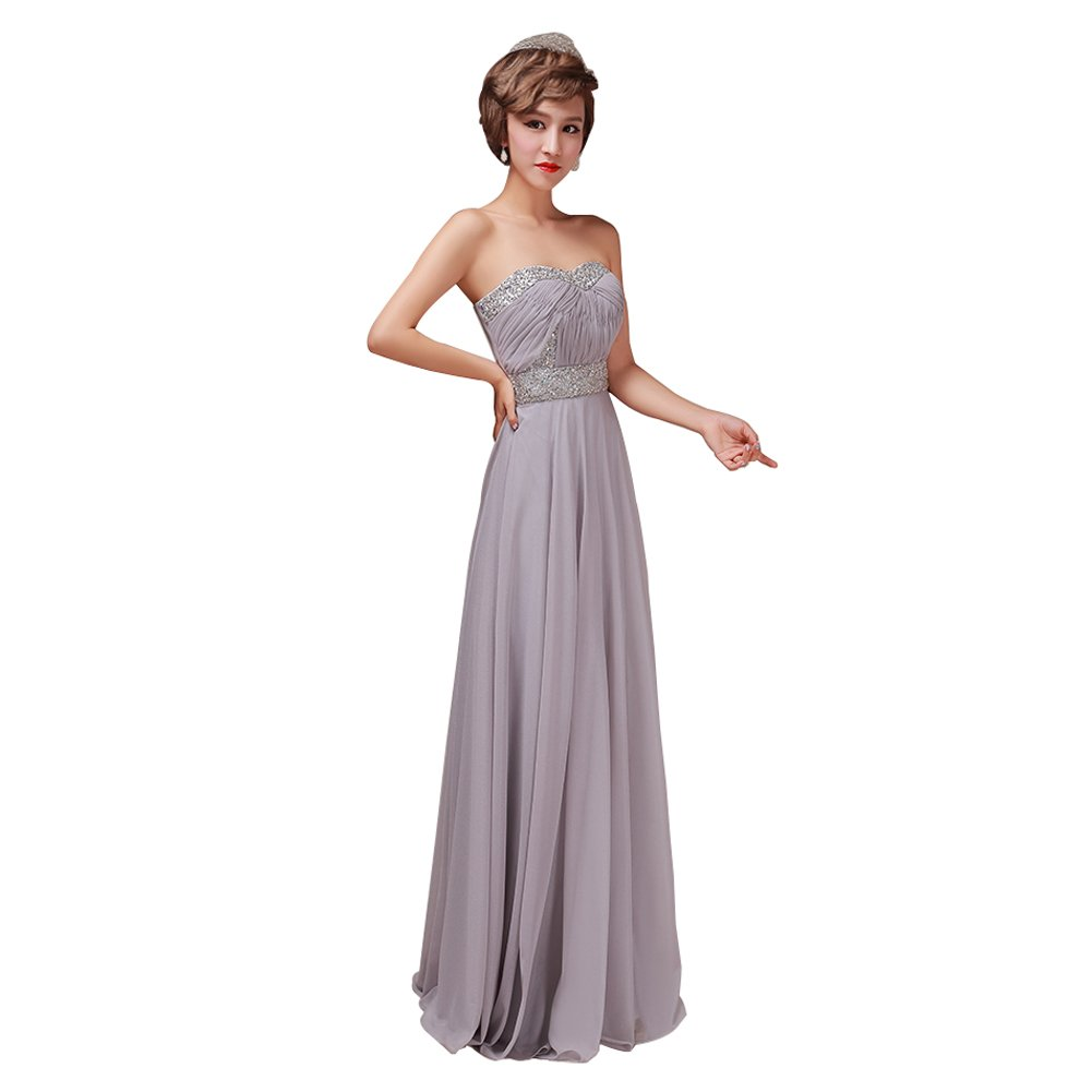 Emmas Style Women's long section strapless dress wedding banquet£¨Purple XL£©
