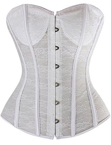 Zanuce Women's Sexy Thin Type Lace Strapless Wedding Dress Corset,White,X-large