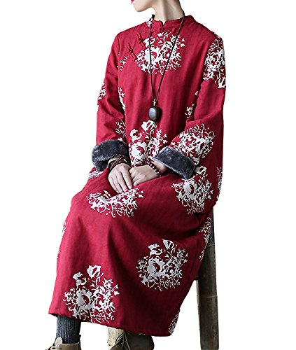 YESNO JBJ Women Long Chinese Qipao Dress Winter Warm Fleece Jacket Jacquard Cotton Handcraft Chinese Frogs/Pockets
