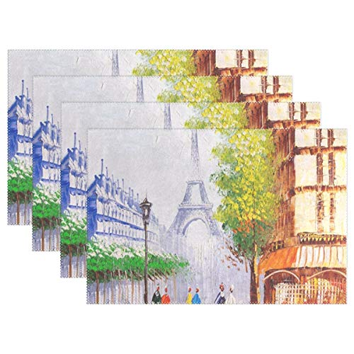 Oil Painting Paris Street Eiffel Tower Placemat Reusable Table Mat Insulation Coffee Tea Cup Pad 12