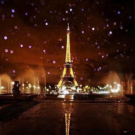 Amazon Com 8x8ft Lights Up The Night Paris Eiffel Tower Photography Backdrop Background Camera Photo