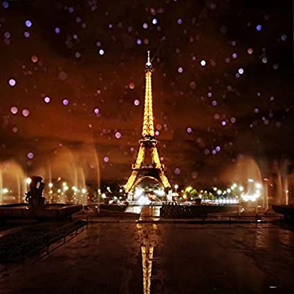 8x8ft Lights Up The Night Paris Eiffel Tower Photography Backdrop Background  FT0432