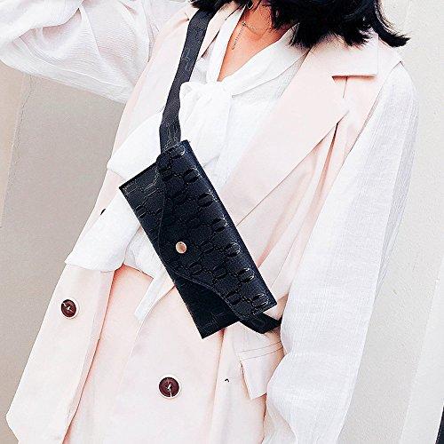 Chest Funky Fanny Bag Hip Holiday Storage Lonshell Shoulder Message Leather Bag Adjustable Travel Black Sling Fashion Womens Pockets Pack Bum Bag Bumbag Belt Waist Hasp Bag wp1AYq