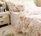 FADFAY Elegant And Shabby Floral Bedding Set Bulgaria Rose 4 Pieces Duvet Cover with Sheer Bedskirt,100% Cotton,Twin Size