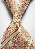 Jacob AleX #47130 Novelty Paisley Polka Dot Orange JACQUARD WOVEN Silk Men's Tie Necktie