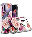 Huawei P20 Pro Case,LUOLNH Slim Shockproof Clear Floral Pattern Soft Flexible TPU Back Cover Huawei P20 Pro(Purple)