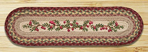 Braided Stair Runners - Earth Rugs 49-ST390 Cranberries Printed Oval Stair Tread, 8.25 by 27