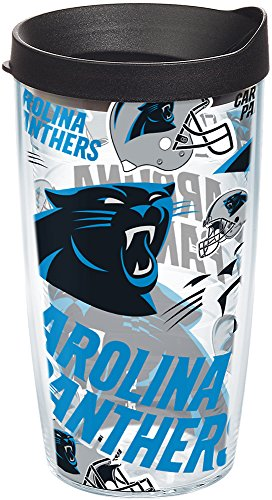 Tervis 1247948 NFL Carolina Panthers All Over Tumbler with Wrap and Black Lid 16oz, Clear