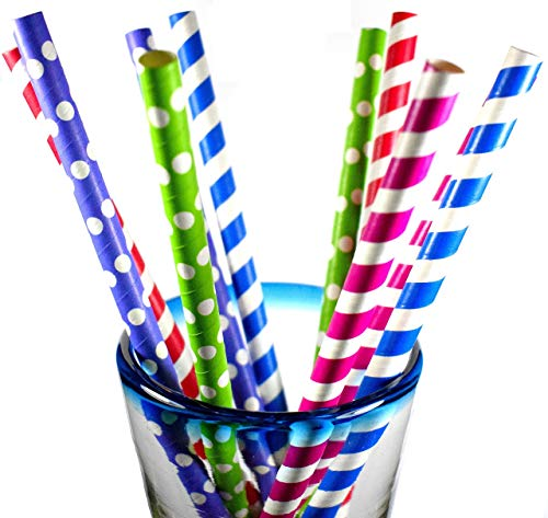 - 40  SMOOTHIE, BOBA, JUMBO PAPER STRAWS! ASSORTED - SUPER-WIDE 3/8